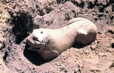 Lion statue guarding Etruscan tomb discovered