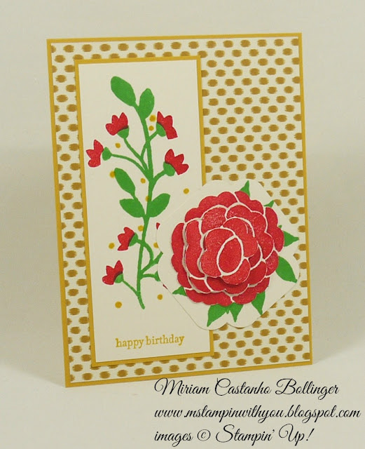 Miriam Castanho Bollinger, #mstampinwithyou, stampin up, demonstrator, pp, birthday card, bohemian dsp, bountiful border, teeny tiny wishes stamp set. big shot, curvy corner trio punch, su