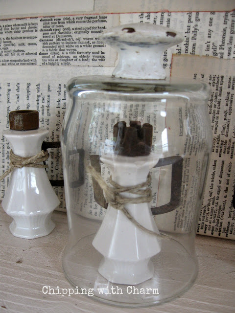 Chipping with Charm: Salt and Pepper Shaker Angel and votive cloche...www.chippingwithcharm.blogspot.com