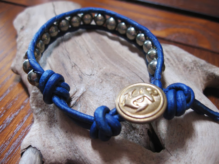 Ships ahoy!  pyrite blue leather wrap with vintage sailor button