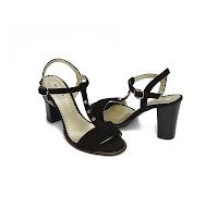Sandale elegante dama negru velur Andra din piele naturala (modlet)