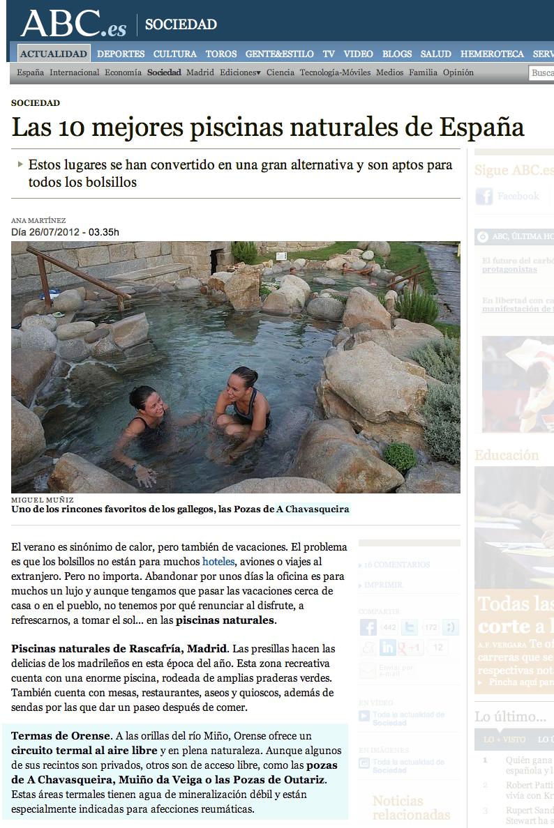Termas chavasqueira las 10 mejores piscinas naturales de for Mejores piscinas naturales madrid