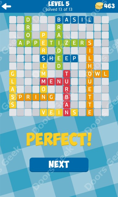 13 word connect level 5 answers doors geek for Solution wordbrain cuisine