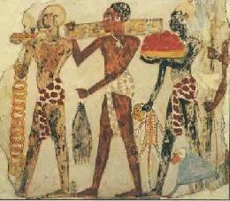 Regalos de un rey de un país llamado Nubia al sur de Egipto