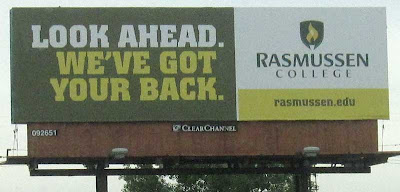 Rasmussen College billboard with headline LOOK AHEAD. WE'VE GOT YOUR BACK.
