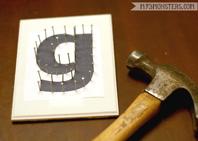 String Art Initial Plaques -- a super easy craft to do with your teens this summer from my3monsters.com