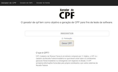 GERADOR DE CPF ONLINE
