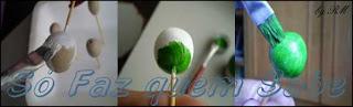 Bolinhas de argila sendo pintadas