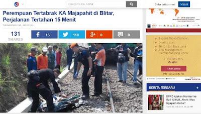 korban meninggal tabrakan kereta api