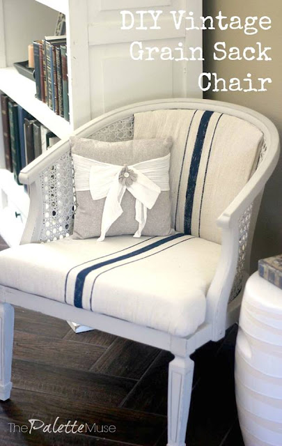 diy, upholstery, refinished chair, painted fabric, chair makeover, fridays furniture fix, #fridaysfurniturefix