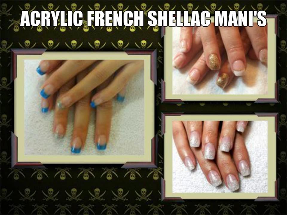 French blue glitz Shellac manicure Acrylics