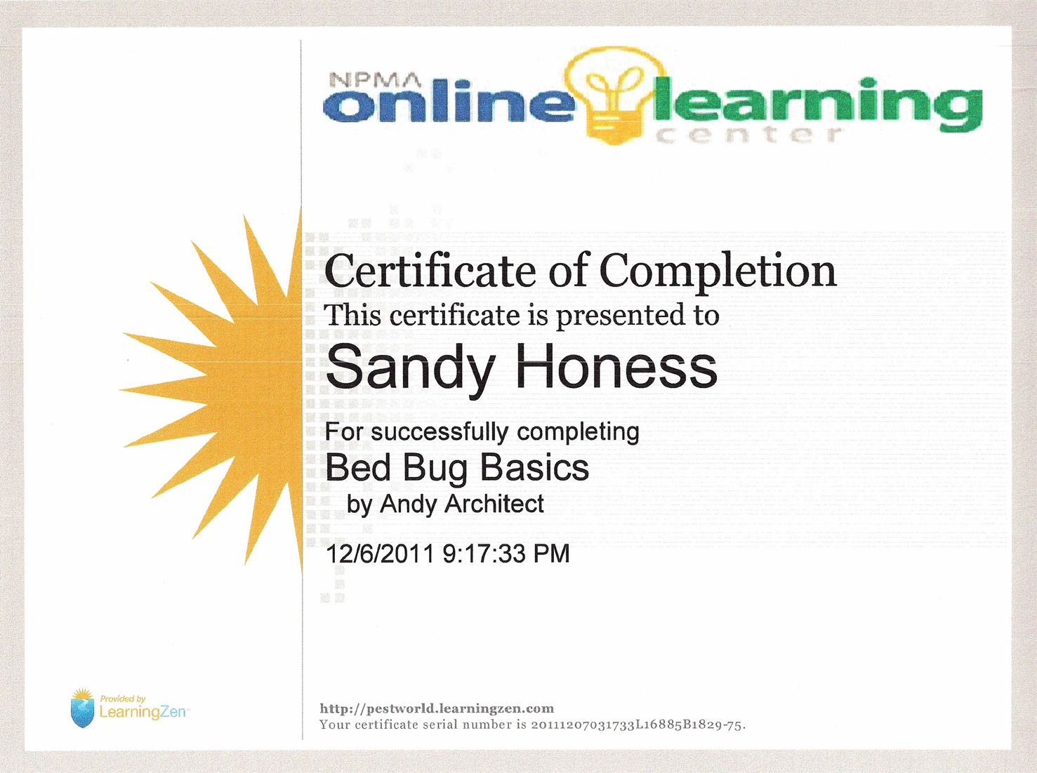 Certified in bed bug basics ladybug pest management blog certified in bed bug basics 1betcityfo Image collections