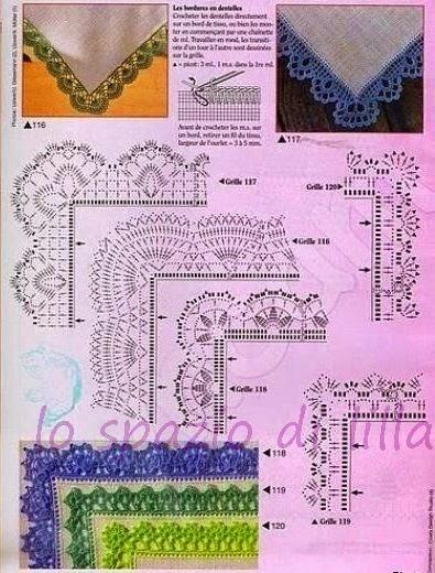 Lo spazio di lilla schemi di bordi crochet con angoli for Schemi uncinetto bavaglini free