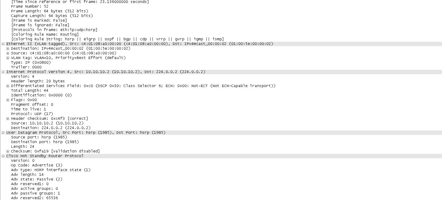 6 the hello messages are sent to the mutlicast ip 224 0 0 2 and the debug ip packet would have these messages