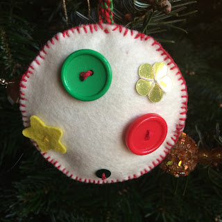 White Felt Handmade Christmas Decoration with Buttons