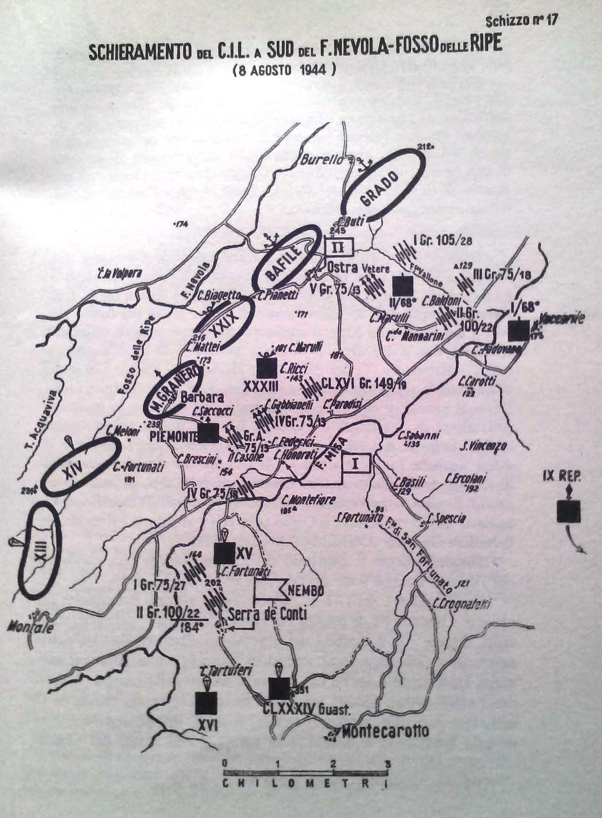 Schieramento del Corpo Italiano di Liberazione 8 agsoto 1944