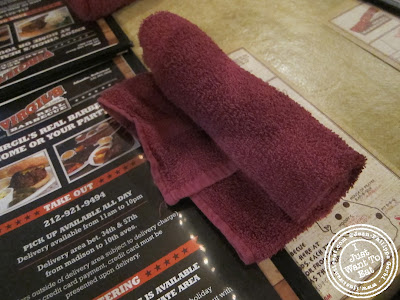 Image of Towel instead of napkin at Virgil's real BBQ in Times Square NYC, New York