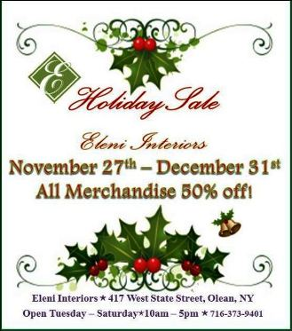 11-27/12-31 50% OFF At Eleni Interiors