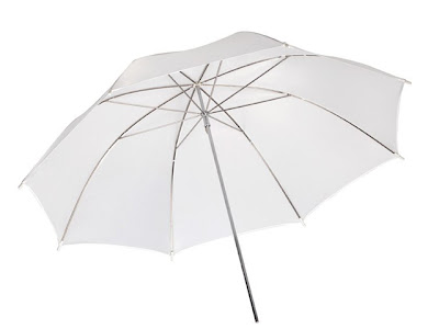 A white / translucent umbrella used for photography