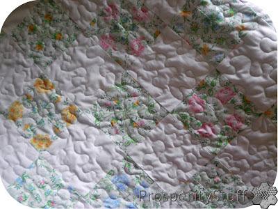 ProsperityStuff Floral Sheet Quilt free motion