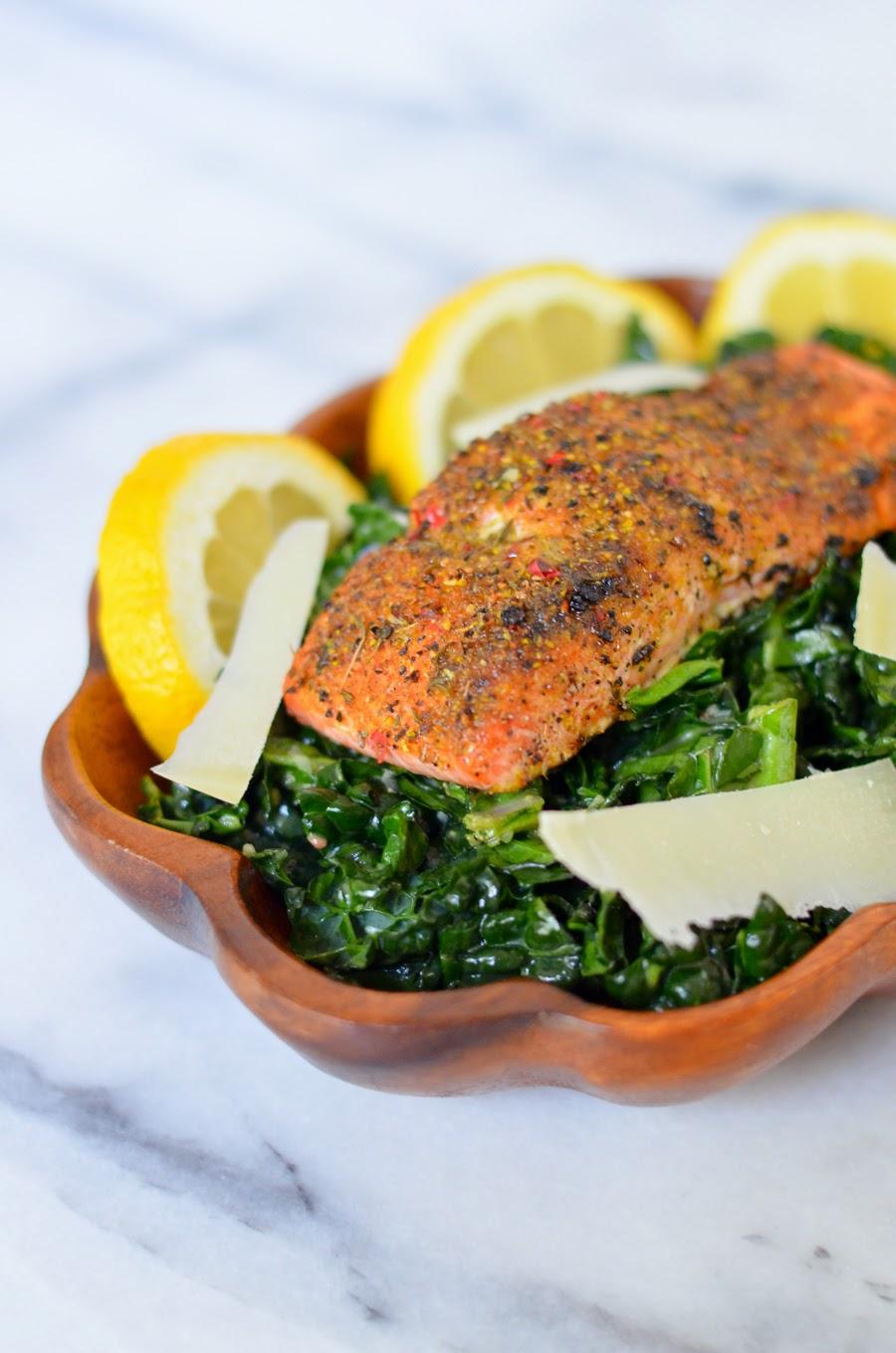 Kale Caesar Salad w. Lemon Pink Peppercorn Salmon | Homemade Caesar Salad Dressing Recipe | Luci's Morsels :: LA Healthy Food Blog