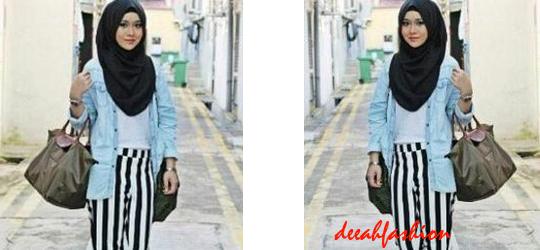 Stripes Hijab Gaya Jilbab Kasual