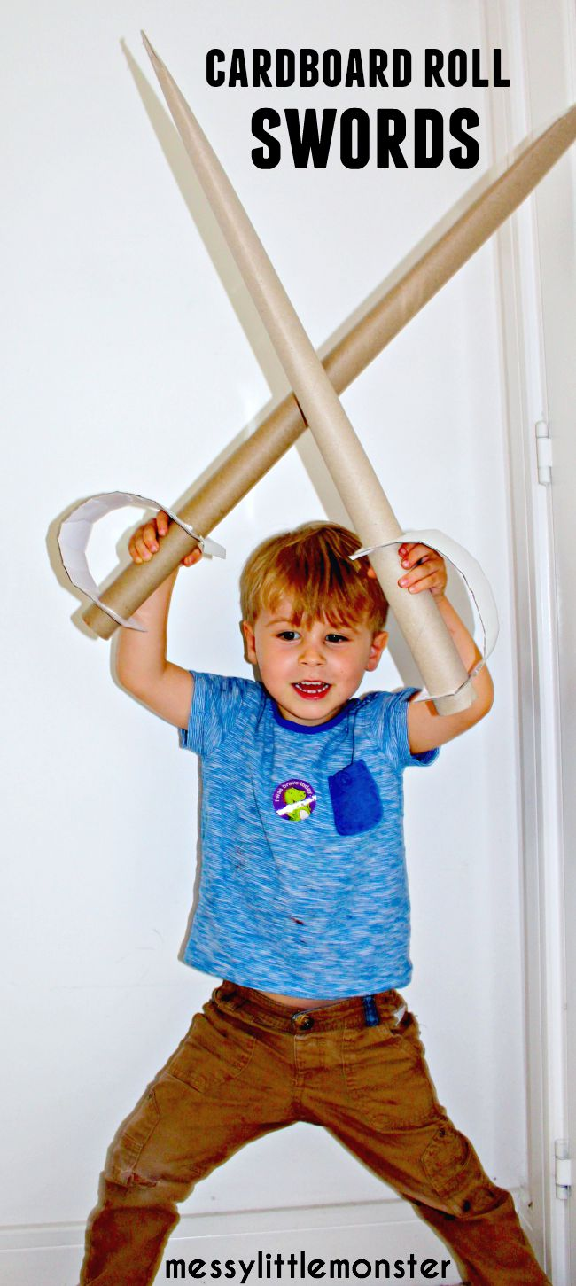 Cardboard roll sword recycled craft for kids: sword pretend play