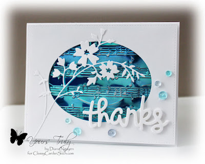 Diana Nguyen, lawn fawn, thanks, memory box, honey blossom sprig, music, embossing folder