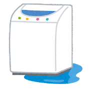 洗濯機の水漏れのイラスト