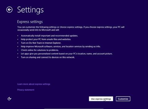 """Pada jendela pengaturan ini pilih """"Use express setting"""" saja."""