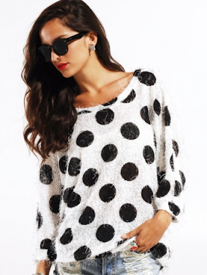 Ladakh Peekaboo Knit Sweater in White/Black