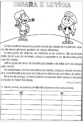 CE   CI   DIVERSAS ATIVIDADES EMPREGO DO C   CONSOANTE C   CASOS DE