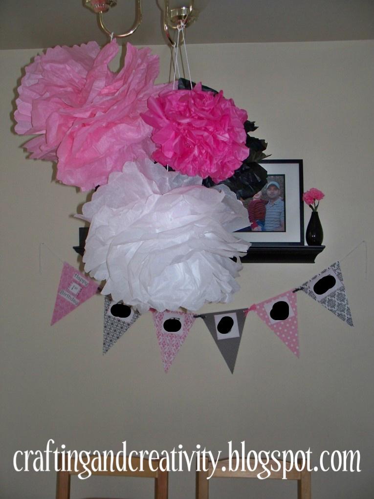 Crafting and Creativity girls 1st birthday party black white