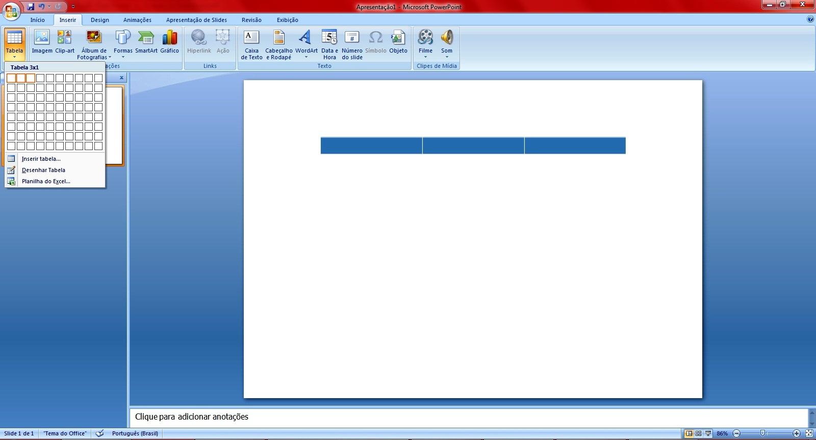 Infortasma como fazer um folder no power point agora clique na aba inserir depois em tabelas e desenhe a tabela com trs colunas e uma linha toneelgroepblik Choice Image