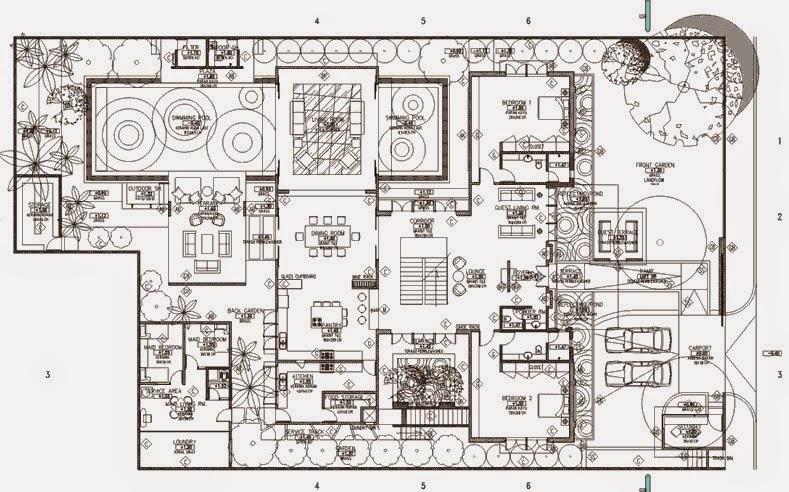 model Denah Rumah Mewah 1 Lantai