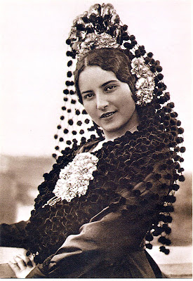 postal antigua dama española Spanierd Lady