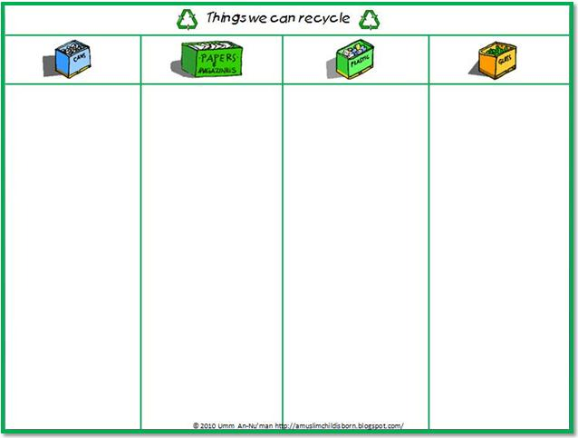 math worksheet : a muslim child is born together we read october  activities and  : Recycling Worksheets For Kindergarten