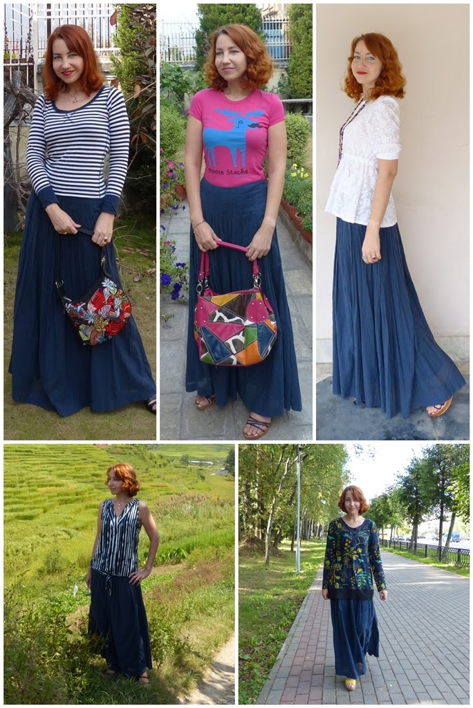 Navy blue maxi skirt, different styling