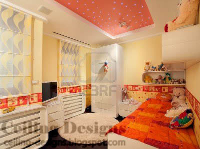 Charming Stretch False Ceiling Designs For Kids Room With Lighting Points Like Stars Part 13