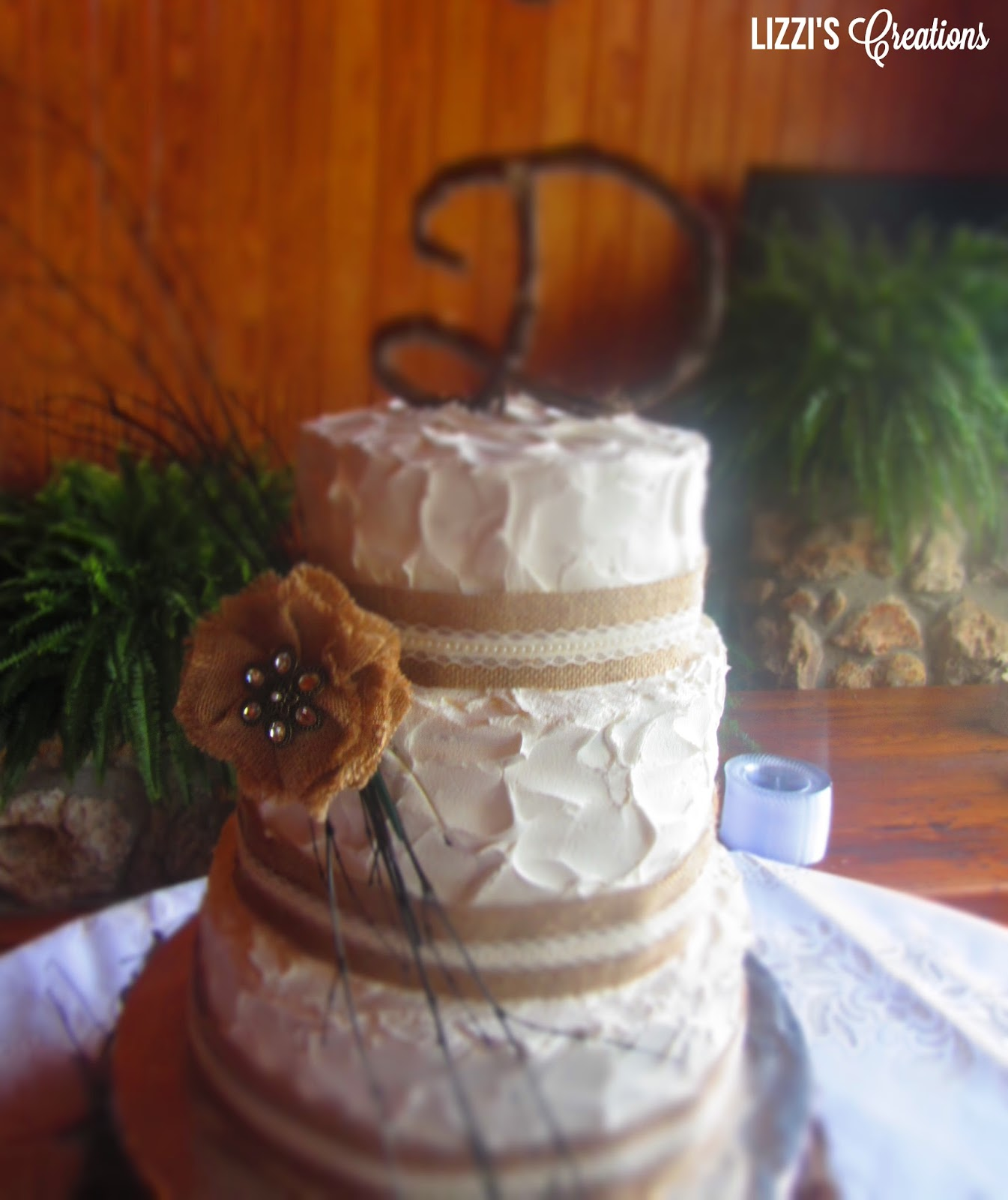 Square Rustic Wedding Cakes With Burlap Viewing Gallery