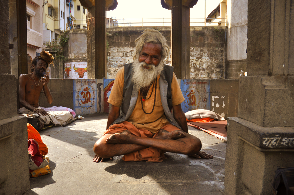 This is a photo of a devoted sadhu in Nashik in India
