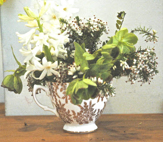 White hyacinths, white heather and green hellebores in a gold and white china teacup.