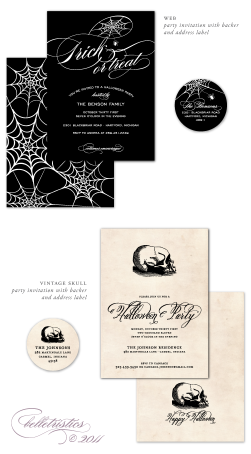 spider skull web halloween party invitation belletristics brightside prints