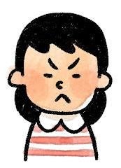 女の子の表情のイラスト(怒り)