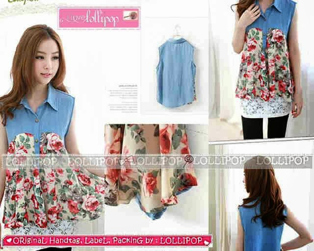 BLOUSE DENIM BUNGA