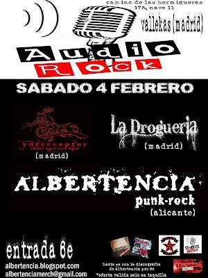 Cartel para la actuación del sábado 04-02-2012 de Ynterceptor Albertencia + La Droguería, en la sala Audio Rock de Vallecas. Madrid