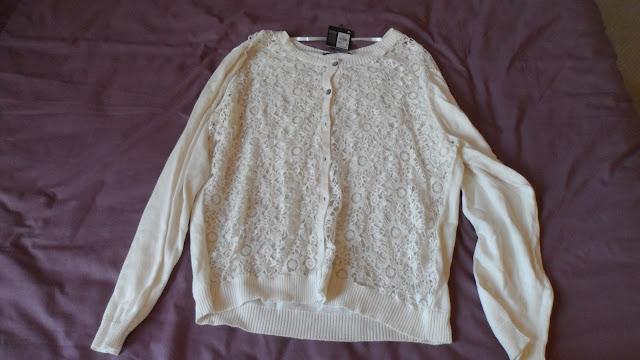 Primark cream lace front cardigan