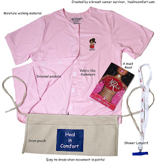 breast cancer, Heal in Comfort shirt, double mastectomy, surgery, drains