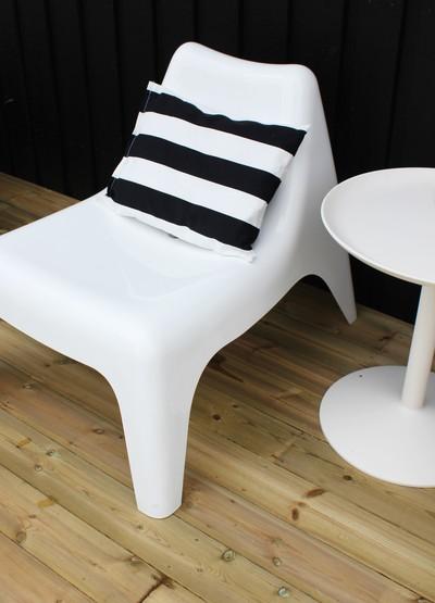 Blanco y negro para el exterior for Silla blanca patas madera ikea