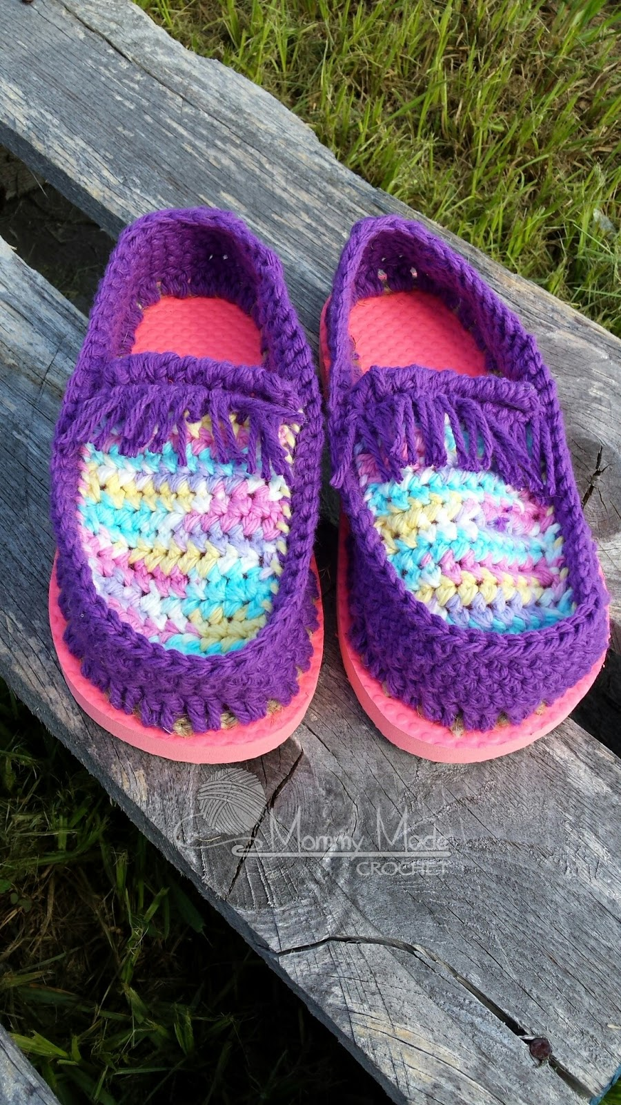 Mommy Made Crochet: Cotton Moccasin Shoes with Flip Flop Soles ...